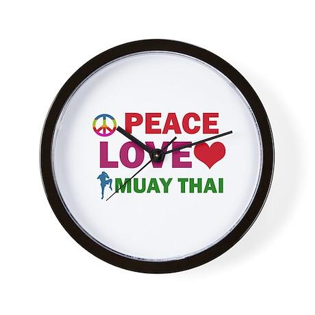 Peace Love Muay Thai Designs Wall Clock