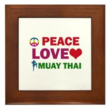 Peace Love Muay Thai Designs Framed Tile