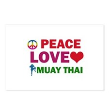 Peace Love Muay Thai Designs Postcards (Package of