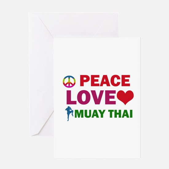Peace Love Muay Thai Designs Greeting Card