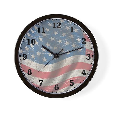 Vintage Flag Of America Wall Clock
