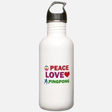 Peace Love Pingpong Designs Water Bottle
