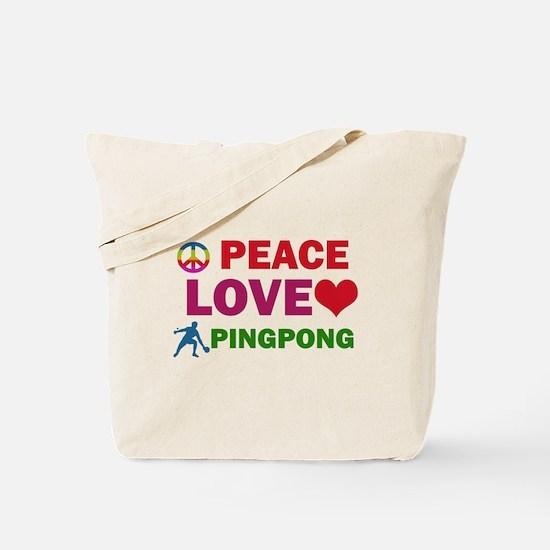 Peace Love Pingpong Designs Tote Bag