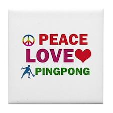 Peace Love Pingpong Designs Tile Coaster