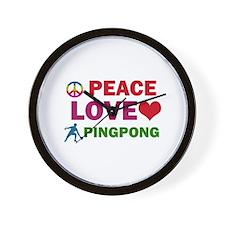 Peace Love Pingpong Designs Wall Clock