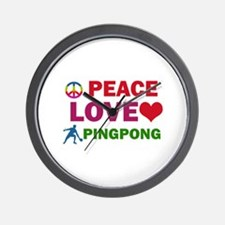 Peace Love Pingpong Designs Wall Clock