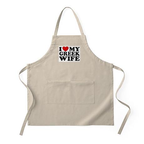 I love My Greek Wife BBQ Apron