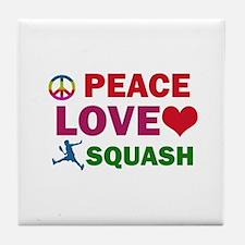 Peace Love Squash Designs Tile Coaster