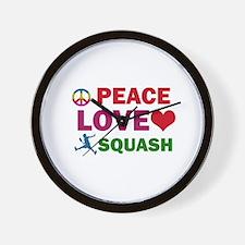 Peace Love Squash Designs Wall Clock
