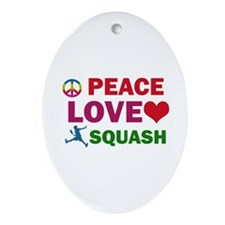 Peace Love Squash Designs Ornament (Oval)