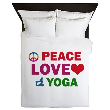 Peace Love Yoga Designs Queen Duvet