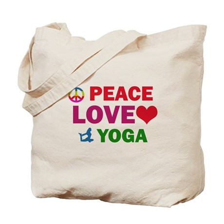 Peace Love Yoga Designs Tote Bag