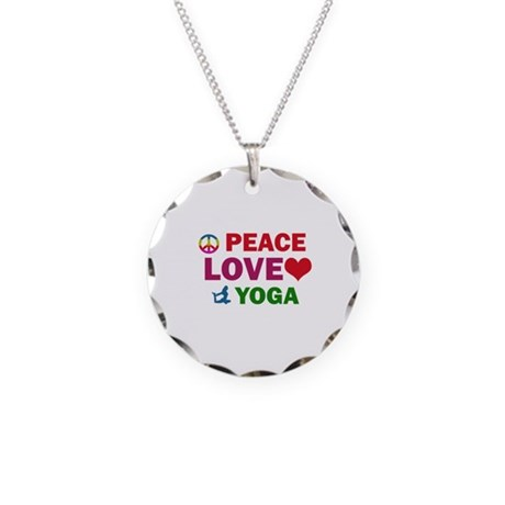 Peace Love Yoga Designs Necklace Circle Charm