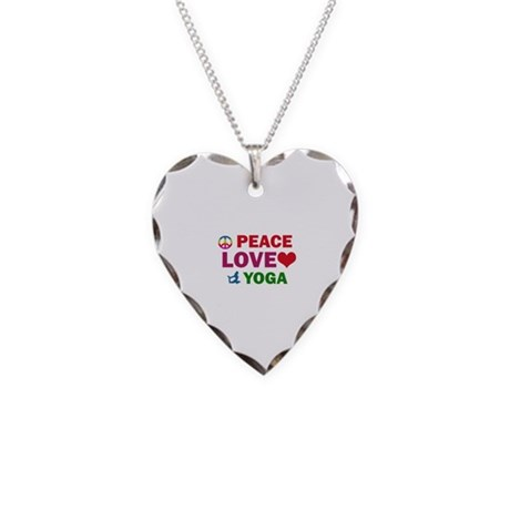 Peace Love Yoga Designs Necklace Heart Charm