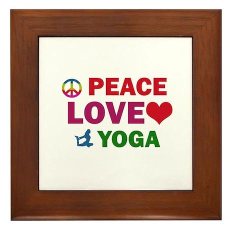 Peace Love Yoga Designs Framed Tile