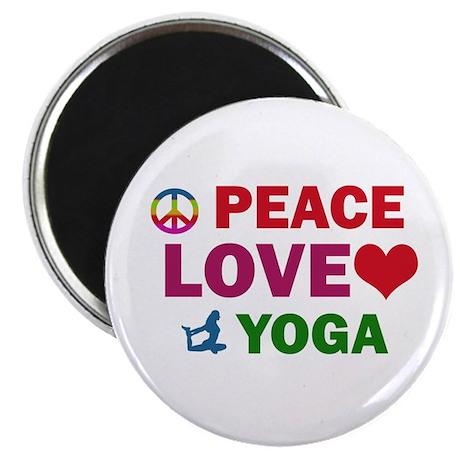 "Peace Love Yoga Designs 2.25"" Magnet (10 pack)"