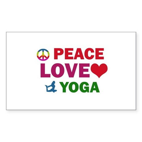 Peace Love Yoga Designs Sticker (Rectangle)