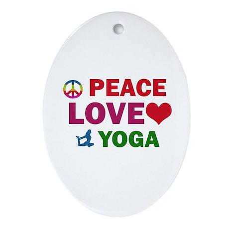 Peace Love Yoga Designs Ornament (Oval)