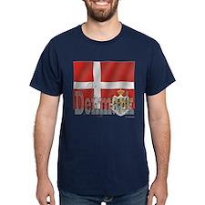Silky Flag of Denmark Black T-Shirt