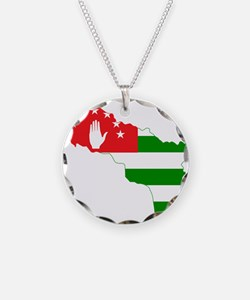 Abkhazia Flag and Map Necklace