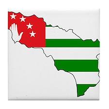 Abkhazia Flag and Map Tile Coaster