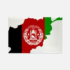 Afghanistan Flag and Map Rectangle Magnet