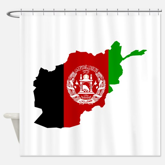 Afghanistan Flag and Map Shower Curtain