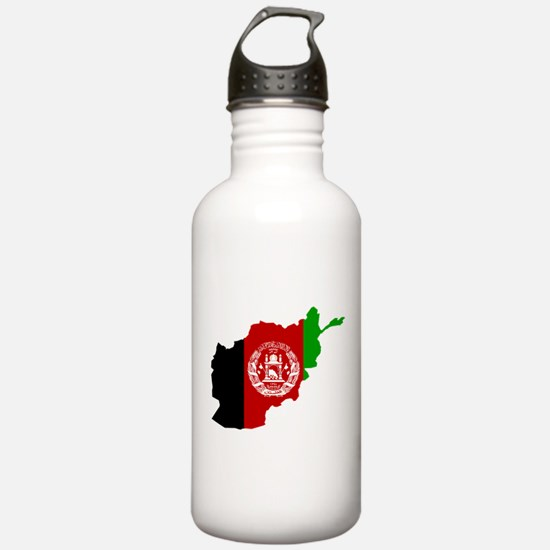 Afghanistan Flag and Map Sports Water Bottle