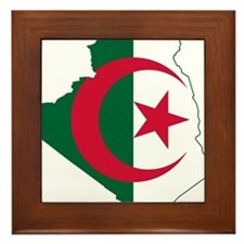 Algeria Flag and Map Framed Tile