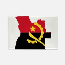 Angola Flag and Map Rectangle Magnet
