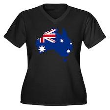 Australia Flag and Map Women's Plus Size V-Neck Da