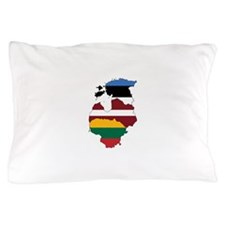 Baltic States Flag and Map Pillow Case