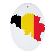 Belgium Flag and Map Ornament (Oval)
