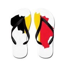 Belgium Flag and Map Flip Flops
