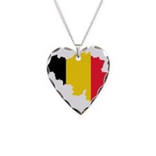 Belgium Flag and Map Necklace