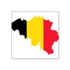 "Belgium Flag and Map Square Sticker 3"" x 3"""