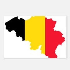 Belgium Flag and Map Postcards (Package of 8)