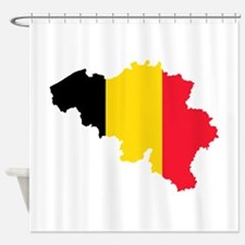 Belgium Flag and Map Shower Curtain