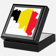 Belgium Flag and Map Keepsake Box