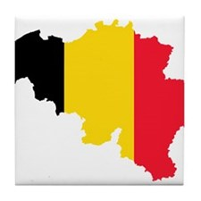 Belgium Flag and Map Tile Coaster