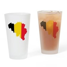 Belgium Flag and Map Drinking Glass