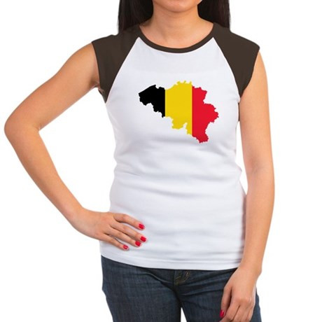 Belgium Flag and Map Women's Cap Sleeve T-Shirt