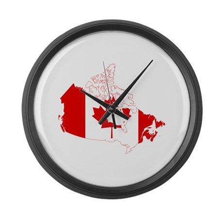 canada flag and map large wall clock by flagsandmaps