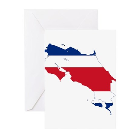 Costa Rica Flag and Map Greeting Cards (Pk of 20)