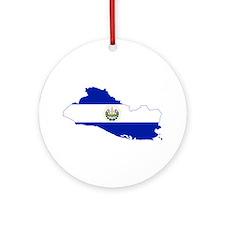 El Salvador Flag and Map Ornament (Round)