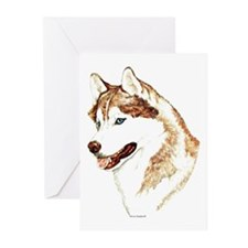 Siberian Husky Portrait Greeting Cards (Package of
