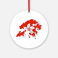 Hong Kong Flag and Map Ornament (Round)