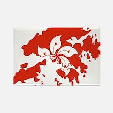 Hong Kong Flag and Map Rectangle Magnet