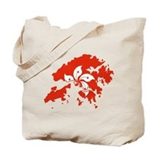 Hong Kong Flag and Map Tote Bag