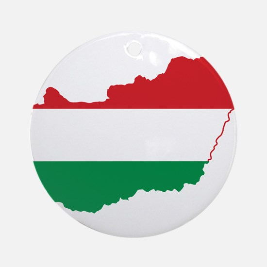 Hungary Flag and Map Ornament (Round)